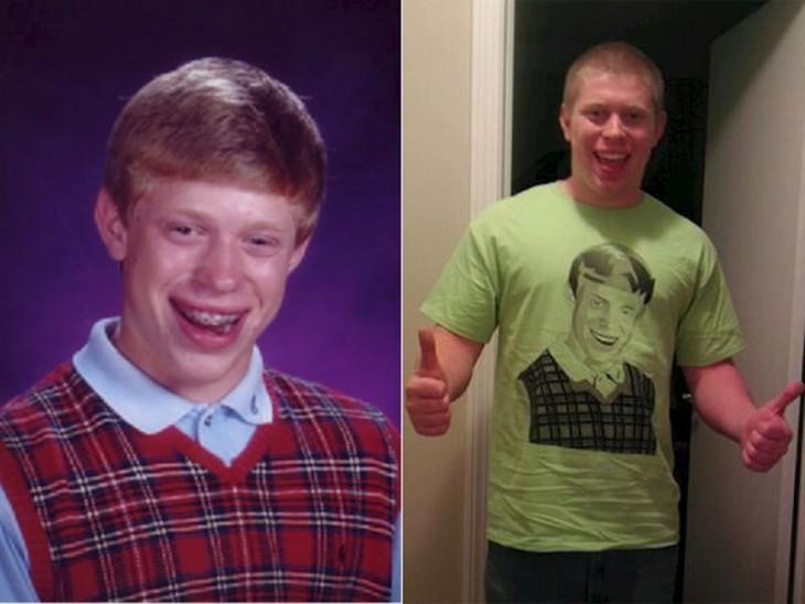 Antes y después del personajes del meme del chico mala suerte