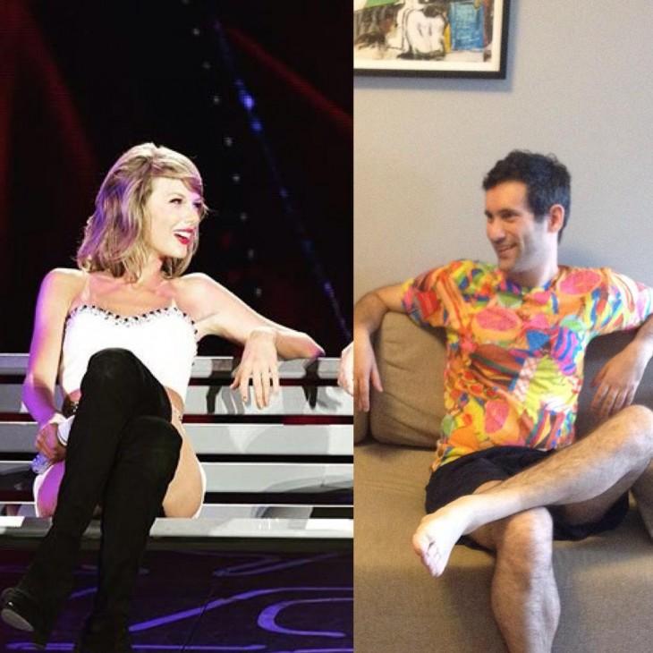 Jon Burgerman sentado a un costado de Taylor Swift