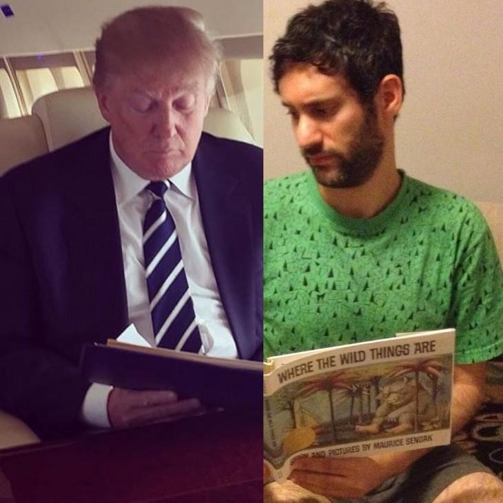 Jon Burgerman leyendo junto a Donald Trump