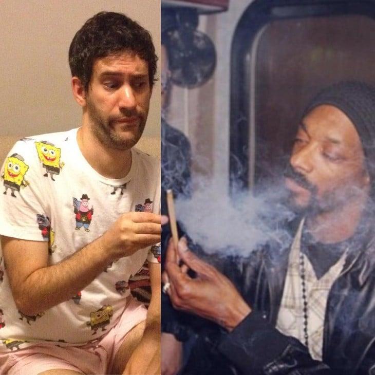 Photoshop de una imagen del instagram de Jon y Snoop Dog