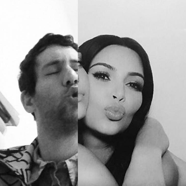hombre junto a kim kardashian imitando su pose lanzando un beso