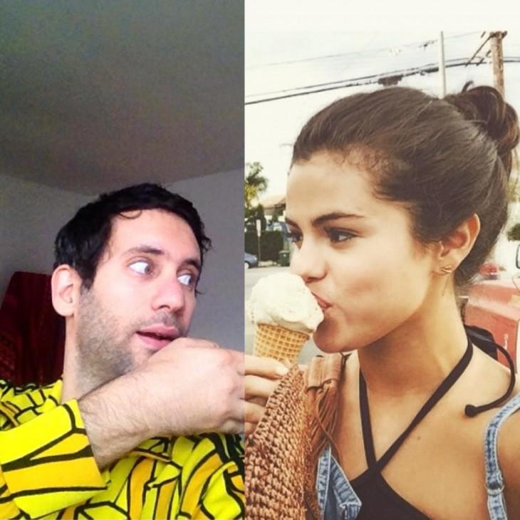 Jon sosteniendo el helado de Selena Gomez
