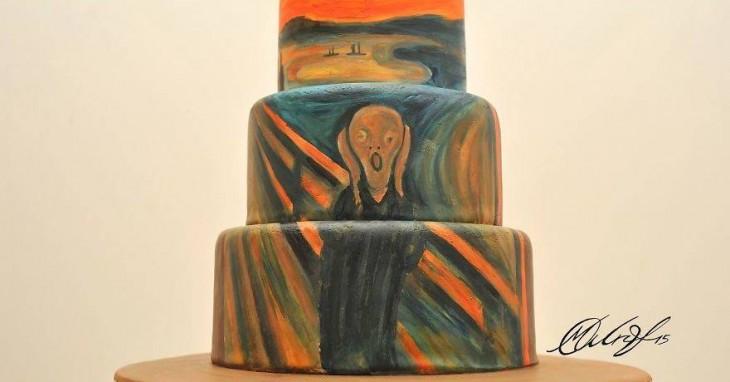Pastel representando la pintura de el grito por Edvard Munch de 1893