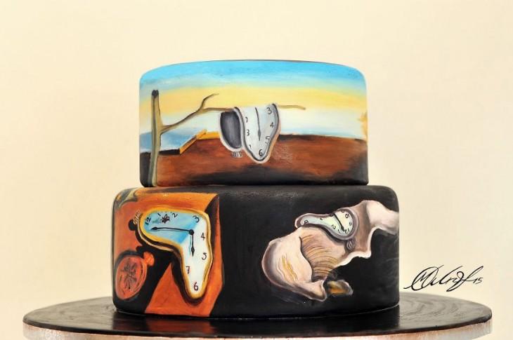 """Pastel con la pintura de """"La persistencia de la memoria"""" por Salvador Dalí"""