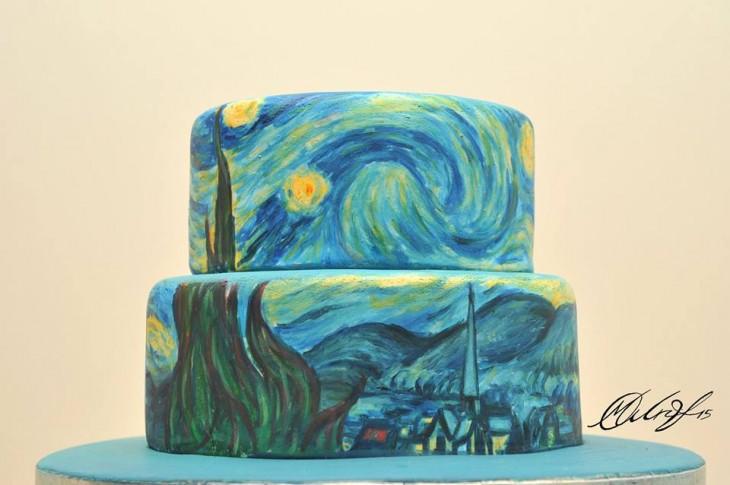 """Pastel que recrea la pintura de """"La noche estrellada"""" por Vincent Van Gogh"""