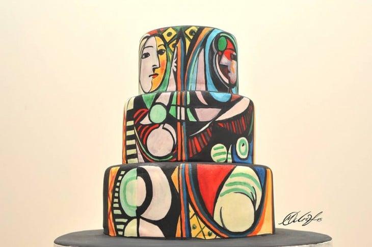 Pastel recrea la pintura de la mujer frente al espejo de Pablo Picasso