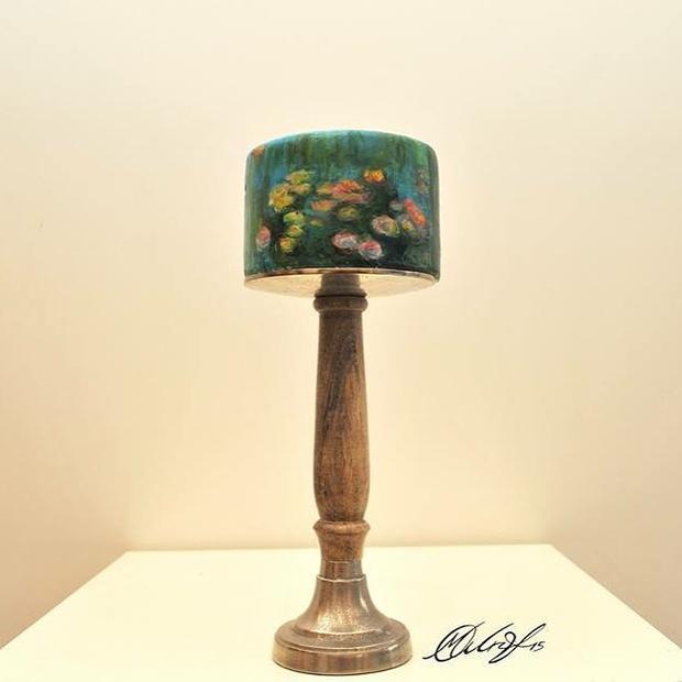"pastel recreando la pintura ""Nenúfares"" de Claude Monet"