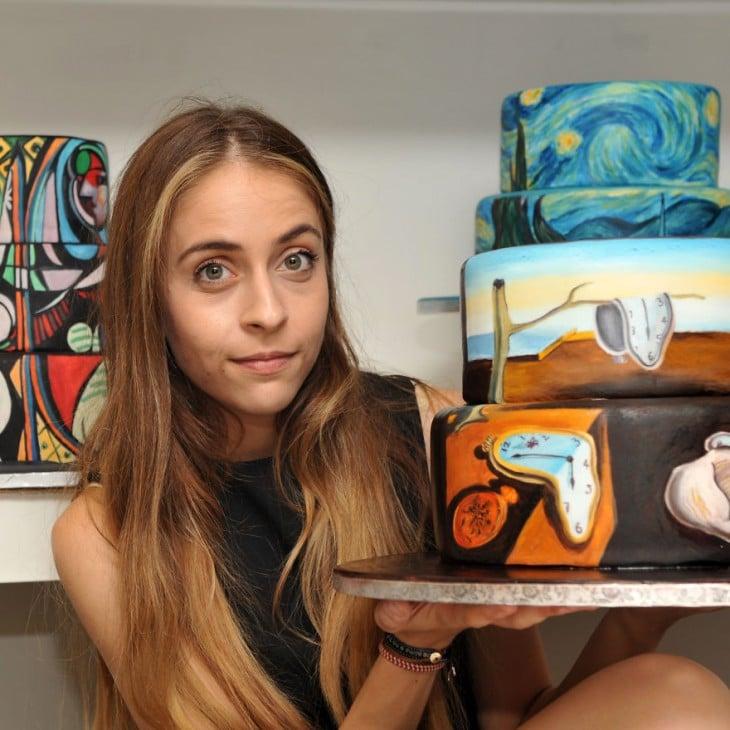 Maria A. Aristidou es una chica que recrea pinturas de famosos artistas en pasteles