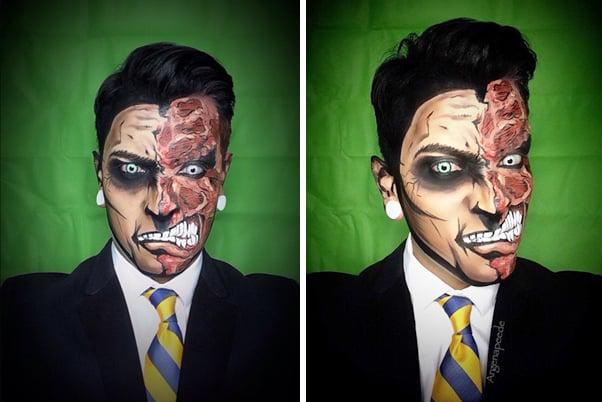 Argenis Pinal maquillado con dos caras