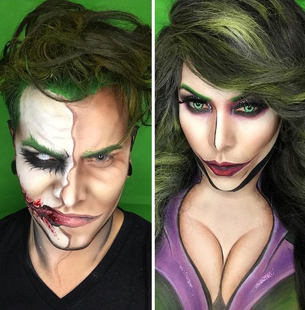 Argenis Pinal maquillado de Joker y de la mujer joker