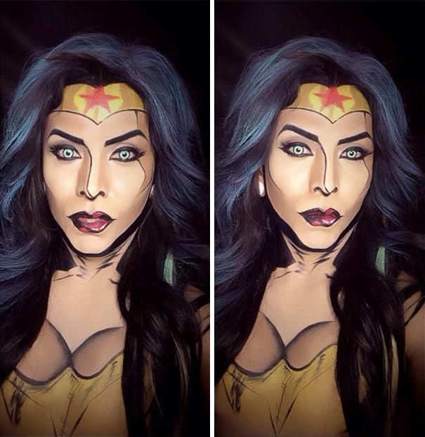 Argenis Pinal maquillado como la Mujer Maravilla