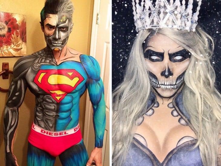 Cyborg Superman maquiagem e Rainha Branca por Argenis Pinal
