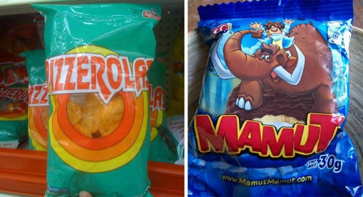 Imagen dividida en dos donde muestra unas sabritas pizzerolas y un mamut