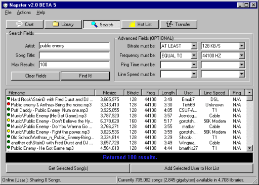 Captura de pantalla del programa Napster para descargar música