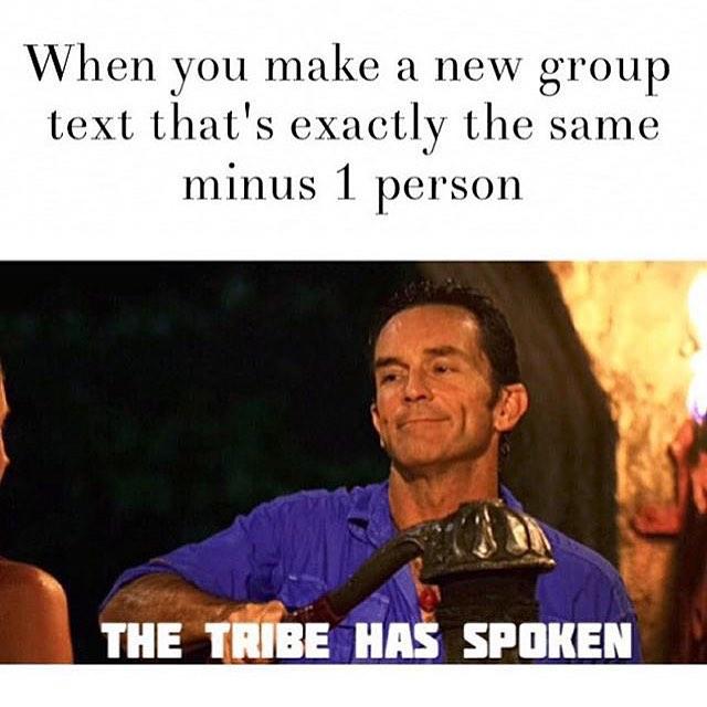 imagen de una hombre aplastando algo con la leyenda The Tribe Has Spoken