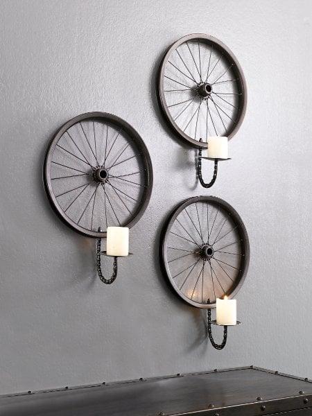 20 maneras de c mo reciclar las ruedas de tu bicicleta for Lamparas y plafones de pared