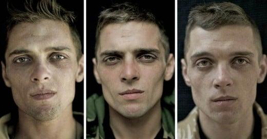 Una muestra impresionante de ver tangible mente el tiempo a través de estos retratos de soldados