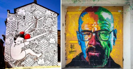 El arte na solo esta destinado a una galería , aquí una enorme muestra de como se expresan en el medio urbano