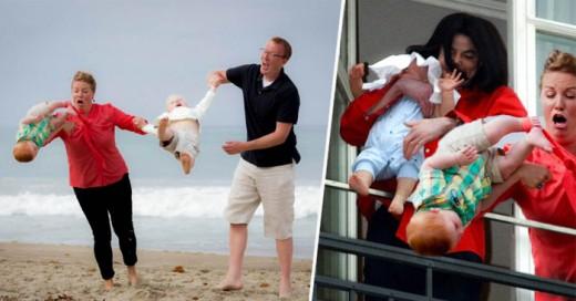 Otra batalla de photoshop con un gran humos ahora les toco a estos padres que cometieron un épico descuido, pero mas épico es el instante captado en una fotografía