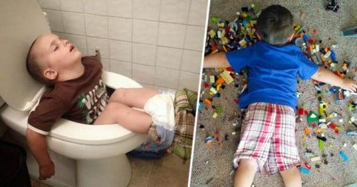 A los niños no se les dificulta conciliar el sueño es tan sencillo que cualquier lugar es ideal para dormir