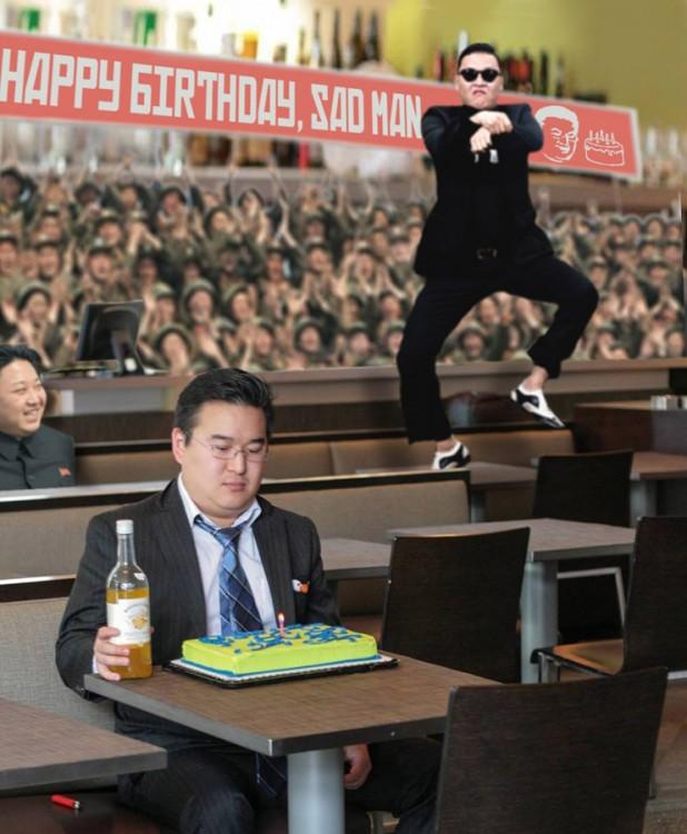 Photoshop de una foto de un chico con pastel y detrás de él PSY bailando gangnam style