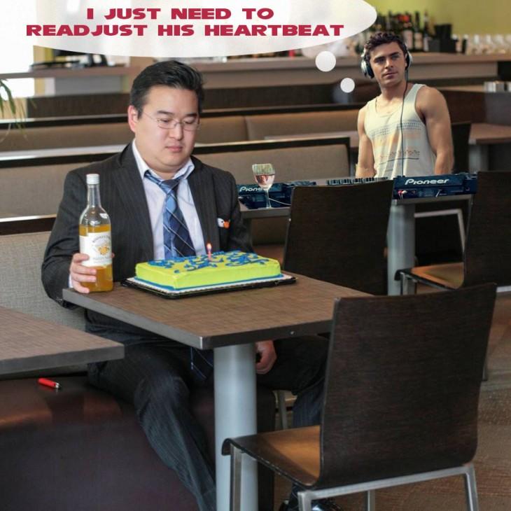 Photoshop de una foto de un usuario de reddit con zac efron detrás de él