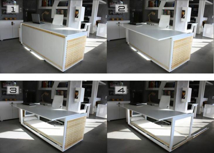 Imagen dividida en cuatro donde se muestra de diferentes maneras el diseño del escritorio de la siesta