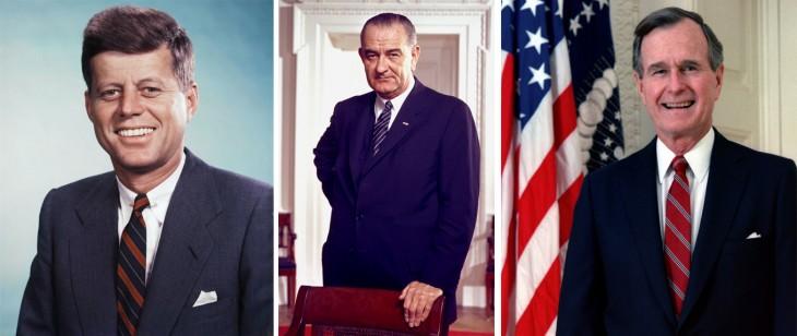 Fotografías de los presidentes Kennedy, Lyndon y George H.W. Bush y George H.W. Bush