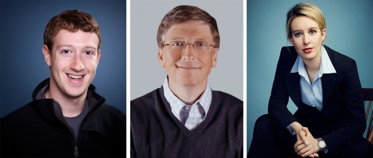 Fotografías de Mark Zuckerberg, Bill Gates y Elizabeth Holmes