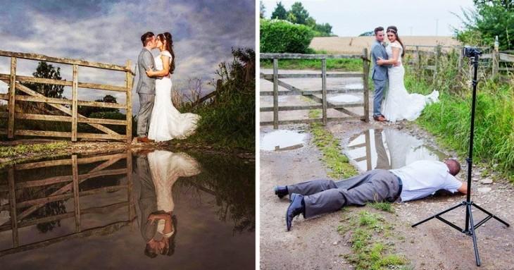 Fotógrafo tirado en el suelo durante una sesión de fotos de una boda
