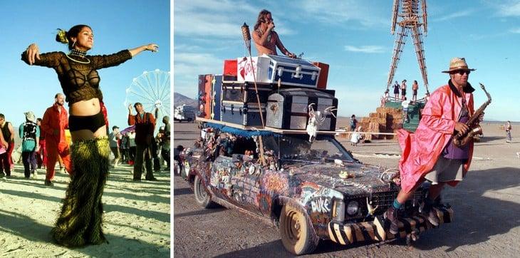 Personas disfrazadas durante el Festival Burning Man