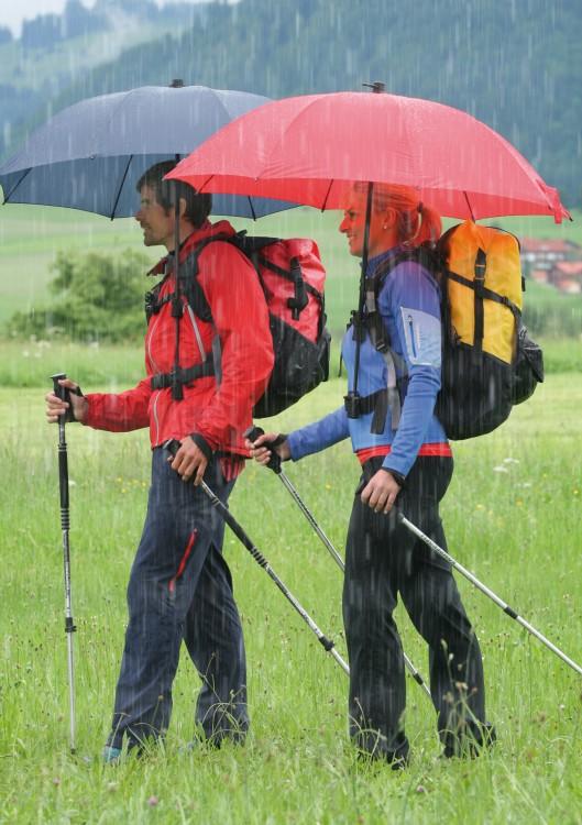 dos personas utilizando el paraguas mochilero