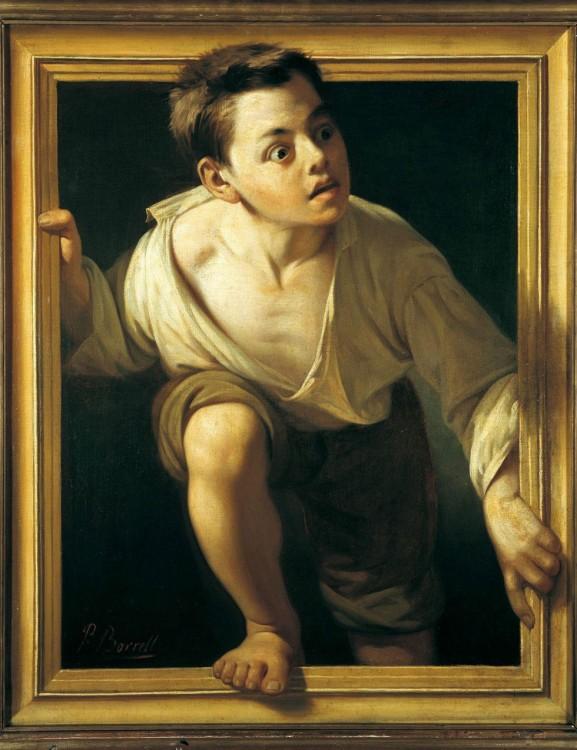 Niño asomandose a traves del cuadro