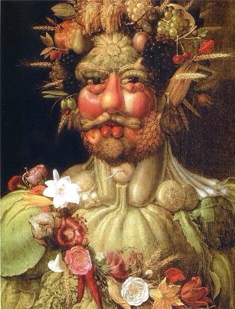 hombre hecho de puras frutas y verduras