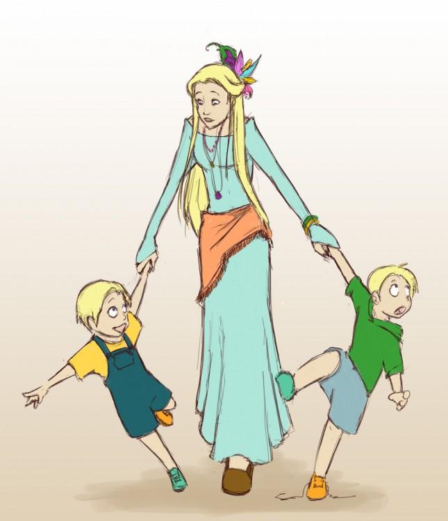 Luna Lovegood con sus hijos mellizos, personajes de la saga de Harry Potter