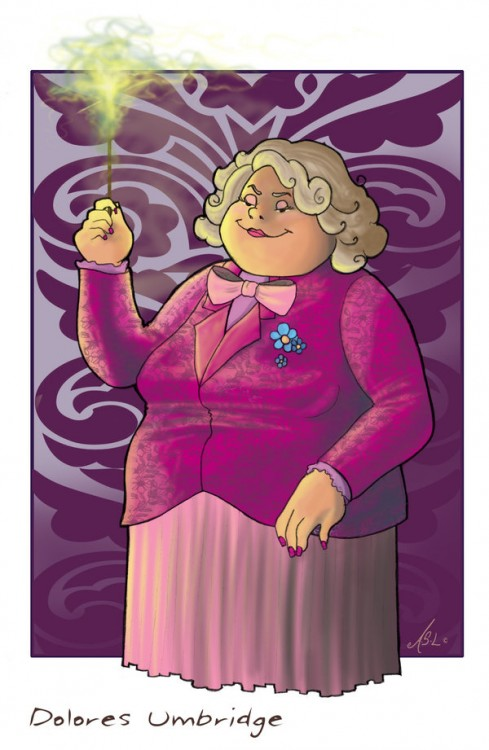 Dibujo de Dolores Umbridge, personaje de Harry Potter