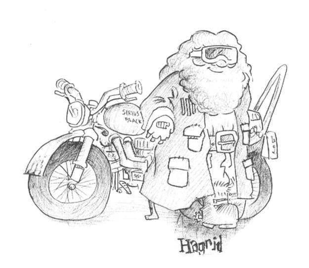 Dibujo del Sr. Weasly recargado en la motocicleta de Sirius Black, personajes de Harry Potter