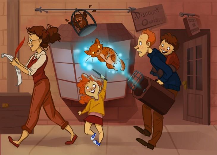 Familia Weasley conformada por Hermione y Ron de la saga de Harry Potter