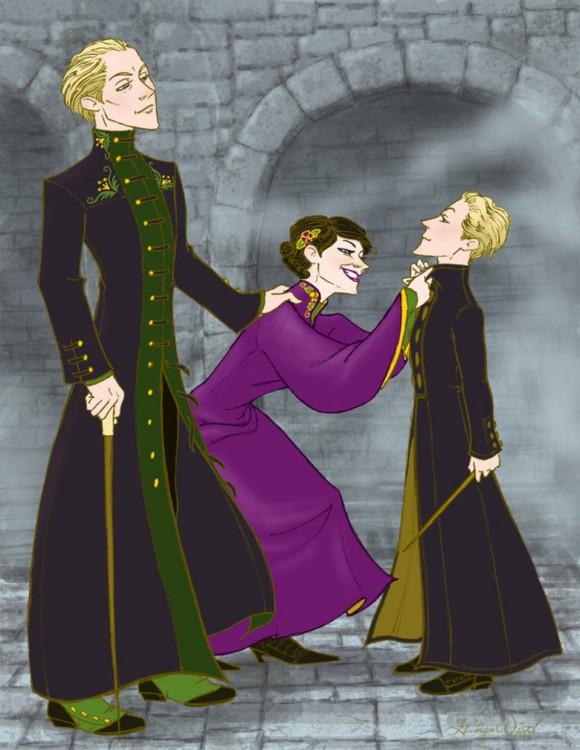 ilustración de Los Malfroy, personajes de la saga de Harry Potter