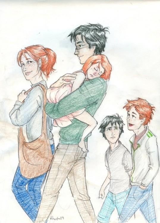 Dibujo de Harry Potter junto a la familia que formo con Ginny Weasley