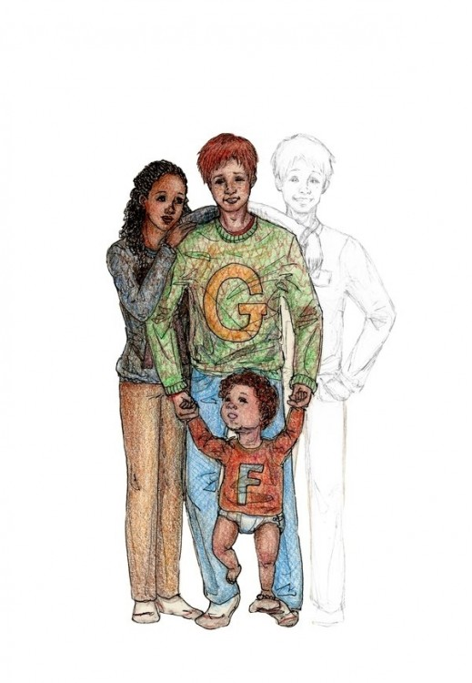 Dibujo de George Weasley y Angelina Johnson, personajes de la saga de Harry Potter