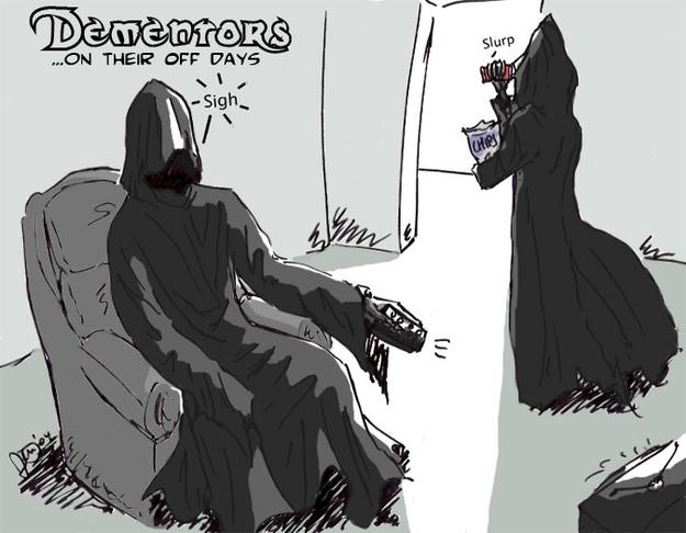 Dibujo de los Dementores de la saga de Harry Potter