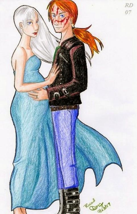 Ilustración de Bill y Fleur Weasley, personajes de Harry Potter