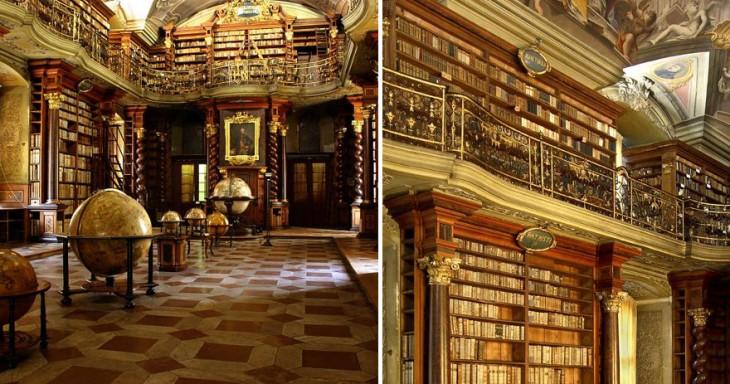 Estantes y centro de la biblioteca Klementinum, la biblioteca más hermosa del mundo