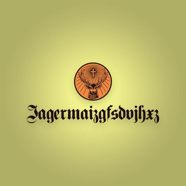 "logotipo de Jagermeister con la frase mal escrito ""jagermaizgfsdujhxz"""