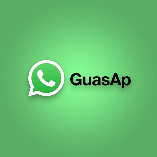 "Logo del WhatsApp mal escrito como ""GuasAp"""