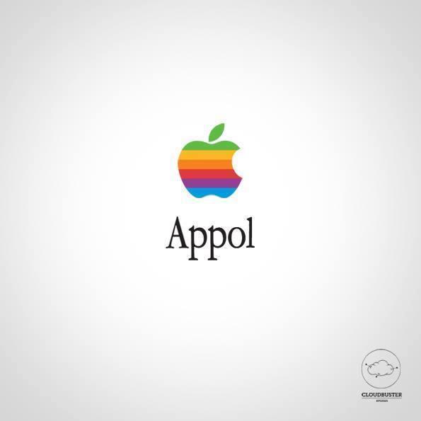 """Logotipo de Apple con la palabra escrita """"Appol"""""""