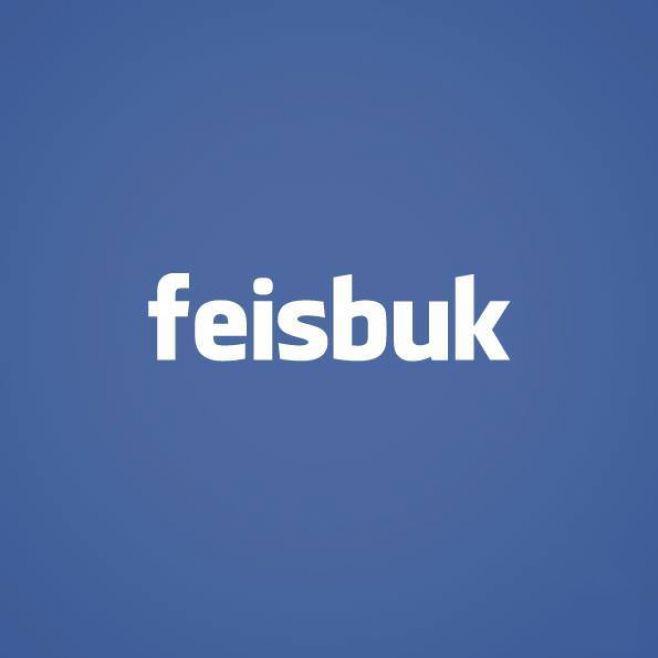 """tipografía de Facebook con la palabra """"Feisbuk"""""""