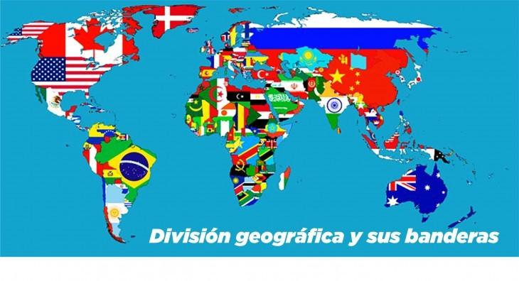 el mundo y sus banderas con división geográfica