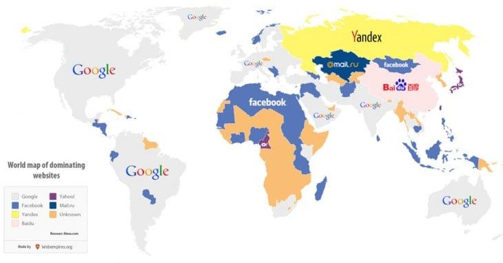 buscadores más populares según poblacipin mundial
